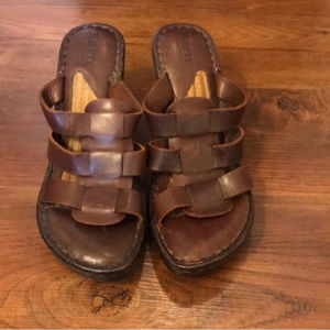 Born brown leather wedges size 8